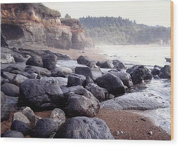 Oregon Coast Rocks Wood Print by Molly Williams
