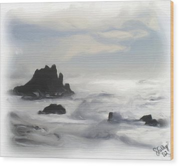 Wood Print featuring the painting Oregon Coast by Shelley Bain