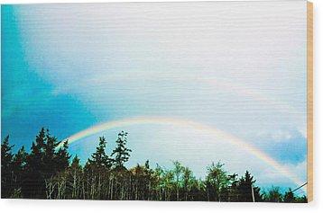 Oregon Double Rainbow Wood Print