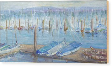 Wood Print featuring the painting Oregon Harbor by Barbara Anna Knauf
