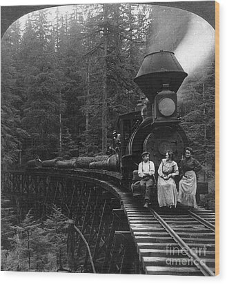 Oregon: Logging Train Wood Print by Granger