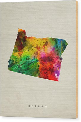 Oregon State Map 01 Wood Print by Aged Pixel