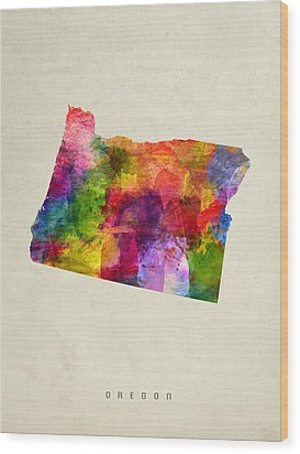 Oregon State Map 02 Wood Print by Aged Pixel