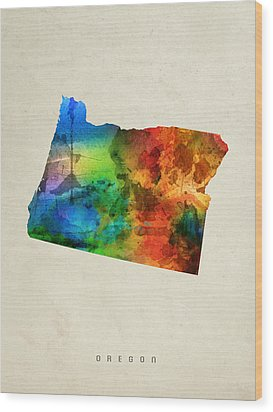 Oregon State Map 03 Wood Print by Aged Pixel