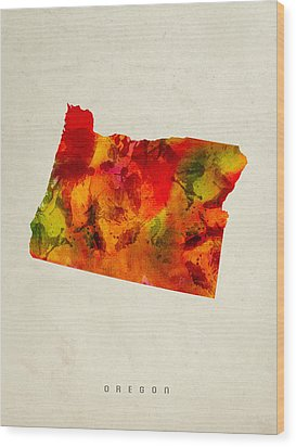 Oregon State Map 04 Wood Print by Aged Pixel