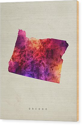 Oregon State Map 05 Wood Print by Aged Pixel