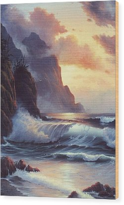 Oregon Sunset Wood Print by Lynne Parker