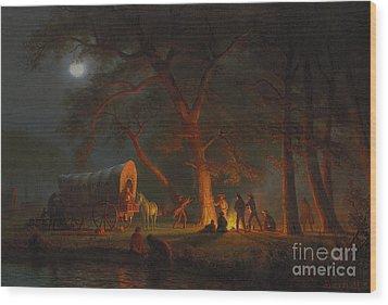 Oregon Trail Wood Print by Albert Bierstadt