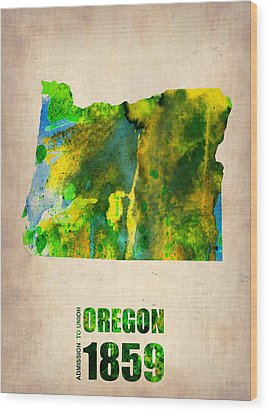 Oregon Watercolor Map Wood Print by Naxart Studio