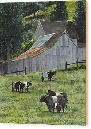 Wood Print featuring the painting Oreo Cows In Napa by Gail Chandler