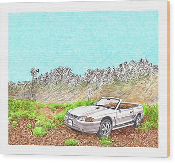 Wood Print featuring the painting Organ Mountain Mustang by Jack Pumphrey