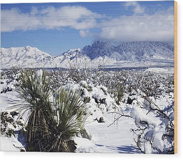 Wood Print featuring the photograph Winter's Blanket Organ Mountains by Kurt Van Wagner