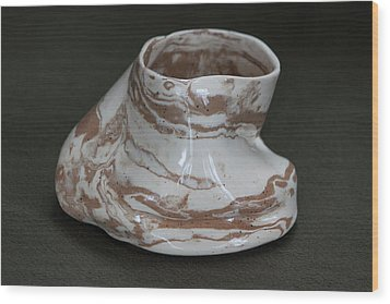 Organic Marbled Clay Ceramic Vessel Wood Print by Suzanne Gaff