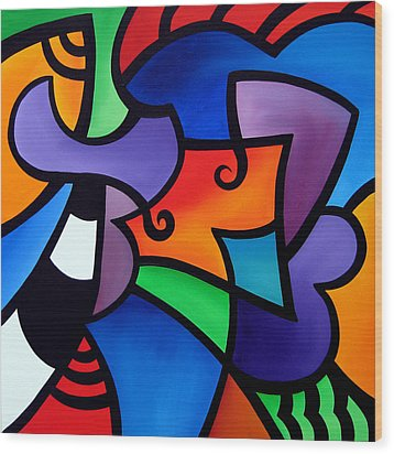 Organized - Abstract Pop Art By Fidostudio Wood Print by Tom Fedro - Fidostudio