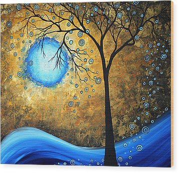 Orginal Abstract Landscape Painting Blue Fire By Madart Wood Print by Megan Duncanson