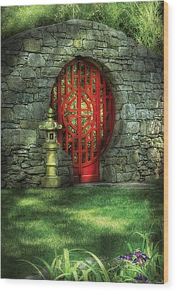 Orient - Door - The Moon Gate Wood Print by Mike Savad