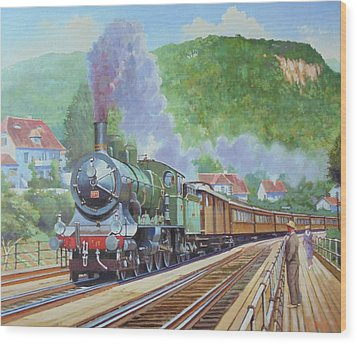 Wood Print featuring the painting Orient Express 1920 by Mike Jeffries