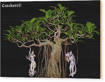 Oriental Bonsai Gods Wood Print by Gary Crockett
