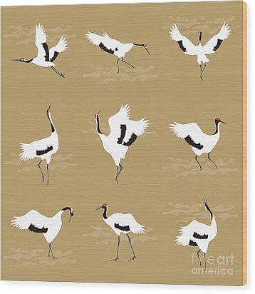Oriental Cranes Wood Print