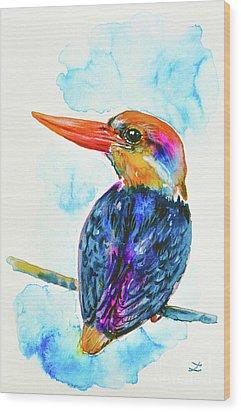 Wood Print featuring the painting Oriental Dwarf Kingfisher by Zaira Dzhaubaeva