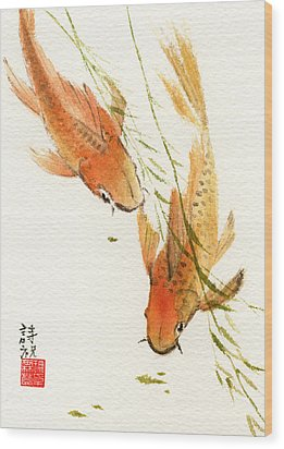 Oriental Koi Wood Print by Sandy Linden
