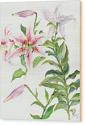 Wood Print featuring the painting Oriental Lily Mona Lisa Liliaceae by Sandra Phryce-Jones
