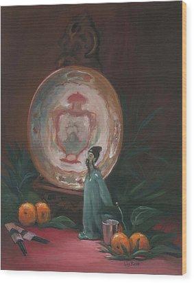 Oriental Plate Wood Print by Liz Rose