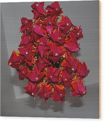 Origami Flowers Wood Print by Rob Hans