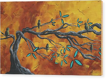Original Bird Landscape Art Contemporary Painting After The Storm II By Madart Wood Print by Megan Duncanson