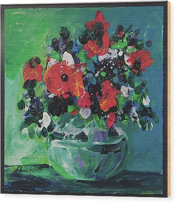 Original Bouquetaday Floral Painting By Elaine Elliott, Blues And Greens, 12x12, 59.00 Incl. Shippin Wood Print by Elaine Elliott