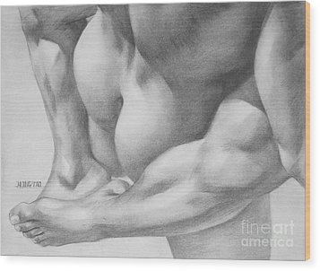 Original Charcoal Drawing Art Gay Interest Men  On Paper #16-3-11 Wood Print