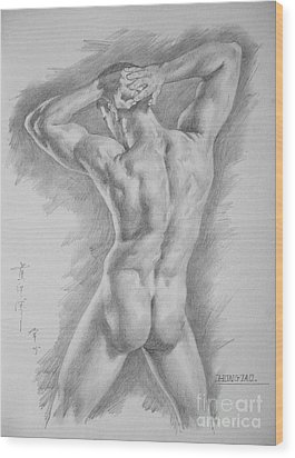 Original Charcoal Drawing Art Male Nude  On Paper #16-3-11-25 Wood Print