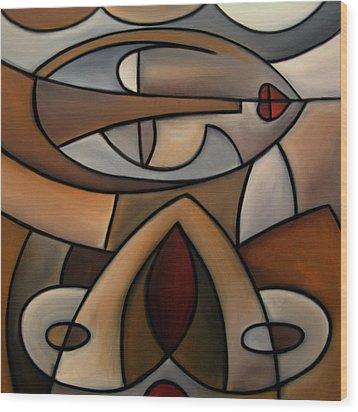 Original Cubist Art Painting - Mama Wood Print by Tom Fedro - Fidostudio