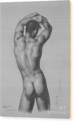 Original Drawing Sketch Charcoal Gay Interest Man Male Nude Art Pencil On Paper-0047 Wood Print