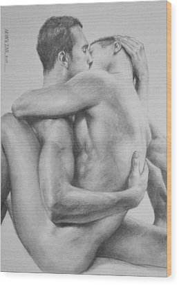 Original Drawing Sketch Charcoal   Male Nude Gay Interest Man Art Pencil On Paper -0034 Wood Print