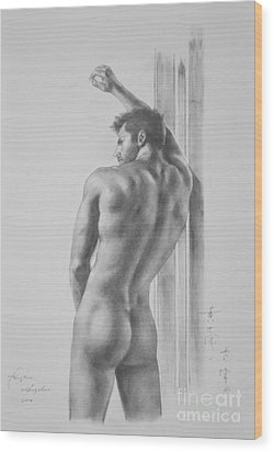 Original Drawing Sketch Charcoal Male Nude Gay Interest Man Art Pencil On Paper -0039 Wood Print