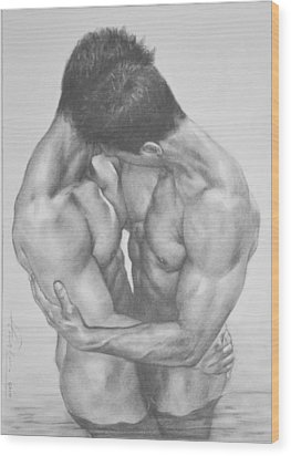 Original Drawing Sketch Charcoal  Male Nude Gay Interest Man Art Pencil On Paper -0041 Wood Print