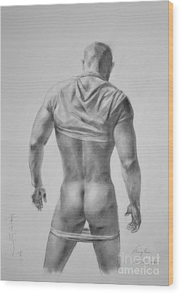 Original Drawing Sketch Charcoal Male Nude Gay Interest Man Art Pencil On Paper #11-17-19 Wood Print