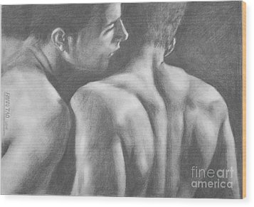Original Drawing Sketch Charcoal Man Body  Male Nude Gay Interest Man Art Pencil On Paper -0029 Wood Print
