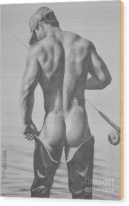 Original Drawing Sketch Charcoal  Pencil Male Nude Gay Interest Man Art Pencil On Paper -0031 Wood Print