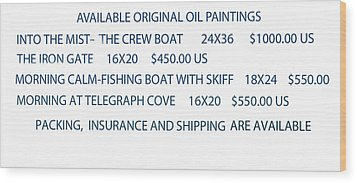 Wood Print featuring the painting Original Oil Painting Availability List by Gary Giacomelli