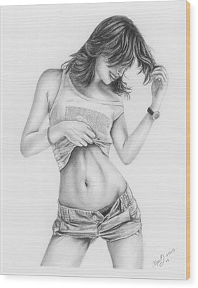Original Pencil Drawing Sexy Girl Www.olgabell.ca Wood Print by Olga Bell