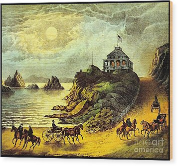 Original San Francisco Cliff House Circa 1865 Wood Print by Peter Gumaer Ogden