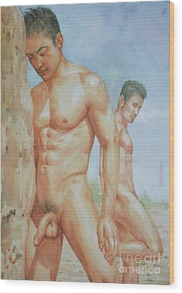 Original Watercolour Painting Art Young Men Male Nude Boys  On Paper #16-1-26-15 Wood Print