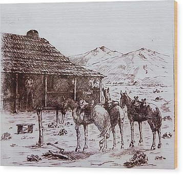 Original Western Artwork 5 Wood Print by Smart Healthy Life