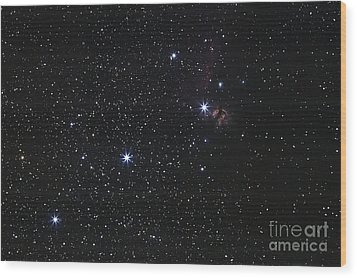Orions Belt, Horsehead Nebula And Flame Wood Print by Luis Argerich