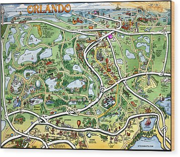 Orlando Florida Cartoon Map Wood Print