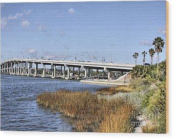 Ormond Beach Bridge Wood Print by Deborah Benoit