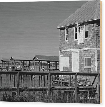 Ormond Yacht Club Black And White Wood Print by DigiArt Diaries by Vicky B Fuller
