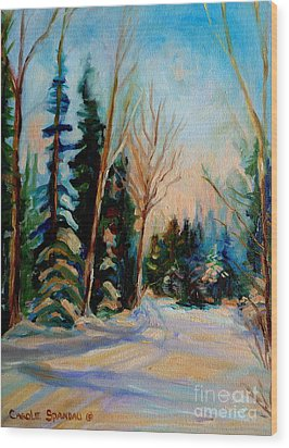 Ormstown Quebec Winter Road Wood Print by Carole Spandau